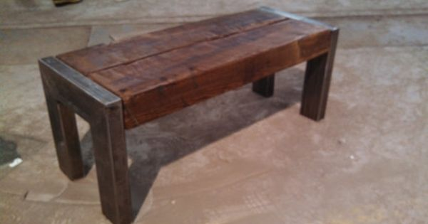 Handmade Bench Coffee Table Is Made From A 4 X 8 Rough Cut Heart Pine Beam The Wood Is