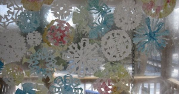Coffee filter paper snowflakes at Artful Parent