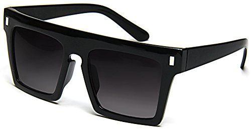 These Flat Top Retro Vintage Fashion Sunglasses With Large Squared Frames And Bold Silver Accents Offer A Flat Top Sunglasses Retro Sunglasses Sunglass Frames