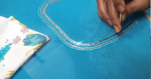 Hand embroidery aari maggam beaded chain stitch