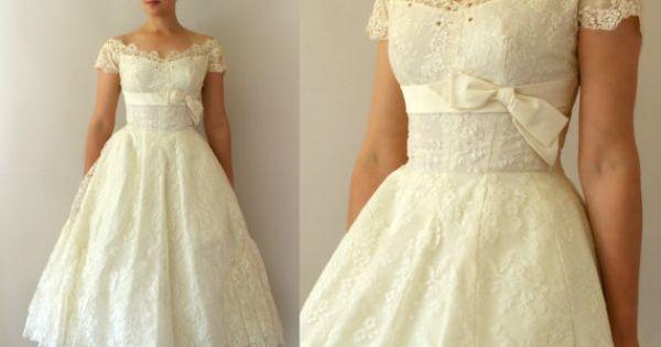 1950s vintage wedding dress 50s ivory lace tea by for Magasins de robe de mariage portland oregon