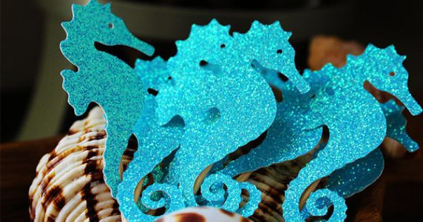 Seahorse cupcake toppers mermaid party nautical under for Porte 7th sea