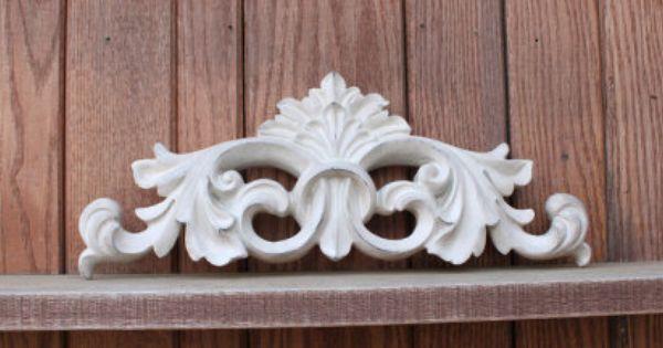 Antique White Fleur De Lis Wall Pediment Swag Applique Door