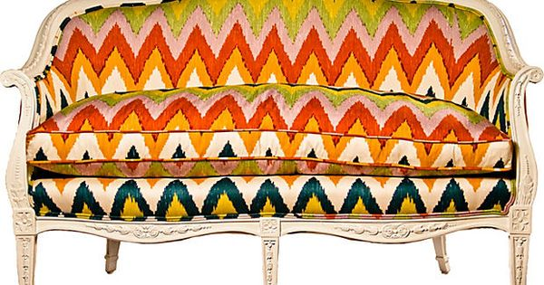 French Settee w/ Schumacher Fabric - A 19th-century Napolean III period settee