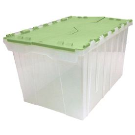 Style Selections 12 Gallon 48 Quart Clear Bin Green Lid Tote With Hinged Lid Lowes Com Clear Bins Hinged Lid Plastic Storage