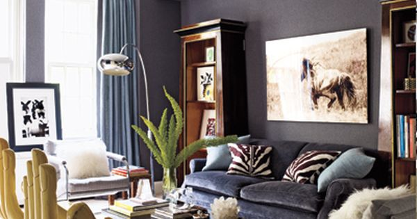 Ashley Stark Living Room Velvet Sofa Zebra Pillows