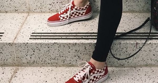 Red checkered vans, Red vans outfit