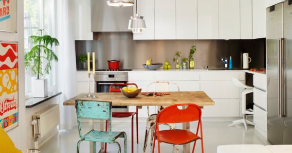 Love the colorful vintage chairs! Helps add some interest to the very