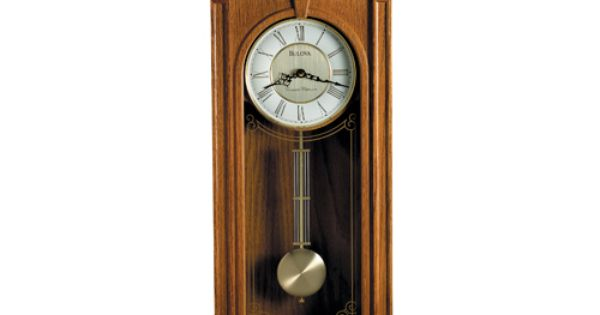 The Bulova Manorcourt Chiming Wall Clock Wood Case With