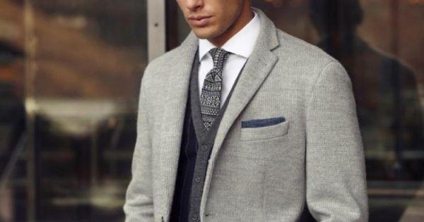 grey blazer, grey tie, jeans. men style