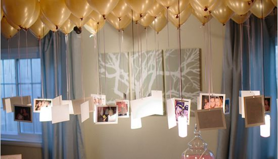photos hanging from balloons to create a chandelier- great for bridal showers,