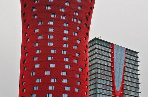 Barcelona, Spain. - Hotel Porta Fira, Barcelona Catalonia Surrealist Architecture red