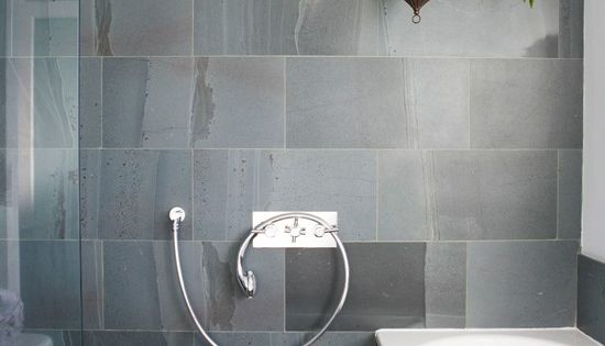 The bathroom with slate tiles wet room designs housetohome for Slate wet room