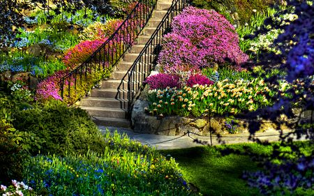 Beautiful Garden Handrail Splendor Flowers Garden Amazing Blue Rocks Pretty Butchart Steps Bank Butchart Gardens Beautiful Gardens Amazing Gardens
