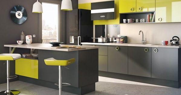 Decoration cuisine gris et jaune look cuisine - Cuisine jaune et verte ...