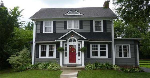 Best Dark Gray Shingles Black Roof Shutters With White Trim 400 x 300