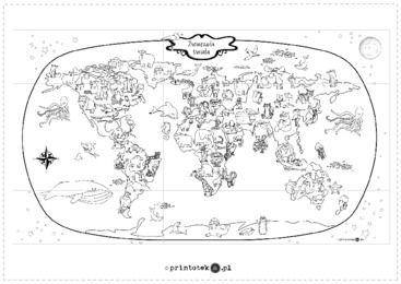 Mapa Ze Zwierzetami Swiata Kolorowanka Xxl Printoteka Pl