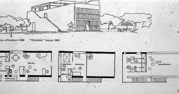 Drawings maison citrohan 1920 le corbusier for Prototype house plan