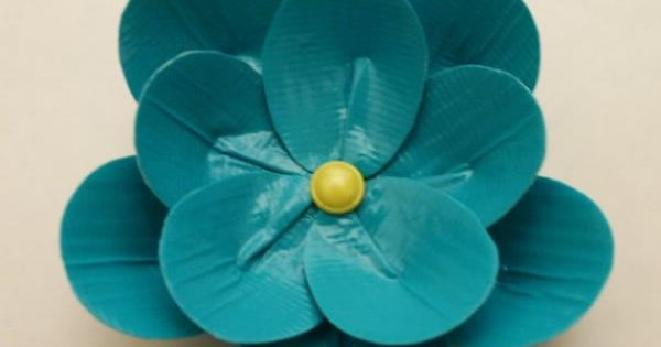 DIY tape flower made of of duck tape: This duct tape flower