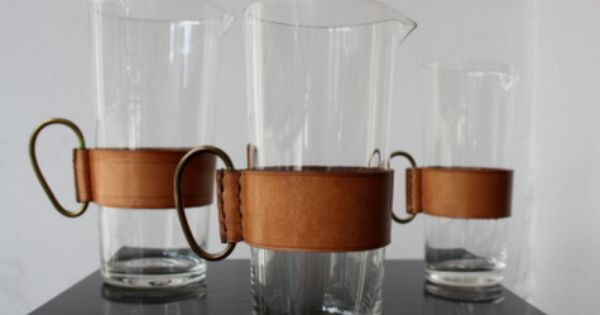 Glass & Leather Pitchers by Viennese designer Carl Auböck (1900-1957).