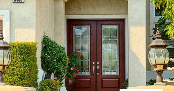 Classic 8 foot tall double entry doors therma tru smooth for Therma tru maple park