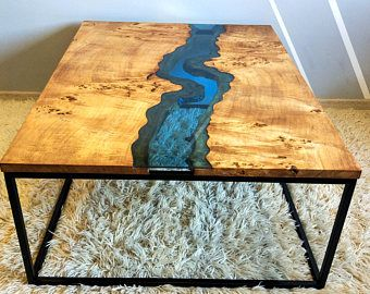 Sold - Epoxy stream coffee table - coffee table - live edge ...