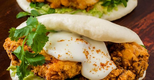 Steamed Buns With Tempura King Oyster Mushrooms And Agave-Miso ...