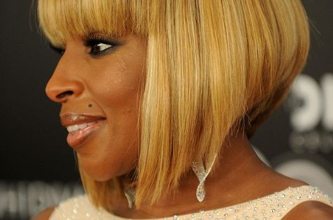 J Hairstyle: Mary J. Blige Short Sleek Inverted Bob Hairstyle