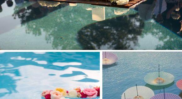 Decoraci n zonas de agua en bodas 4 piscina flores for Sombrillas para piscinas
