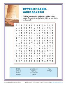 Tower Of Babel Word Search Tower Of Babel Sunday School Kids