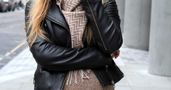 maternity fashion - leather jacket, biker boots, leggings, extra long sweater, chevron