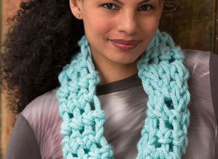 Isis Infinity Scarf Free Crochet Pattern From Red Heart Yarns : Cool Finger Crochet Cowl Free Crochet Pattern in Red Heart ...