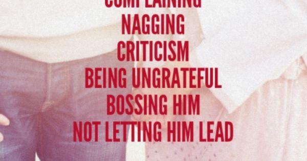Ways Women Sap A Man's Joy & Strength: Complaining Nagging