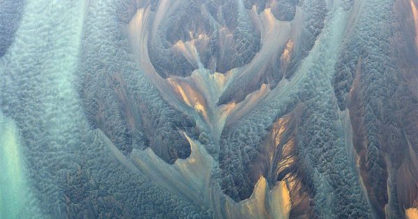 Ariel photo of Iceland's volcanic rivers Ethereal pattern of the real river