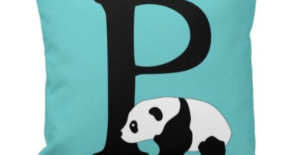 Monogram Initial Letter P Cute Panda Bear Custom Throw