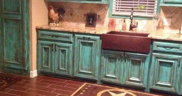 distressed turquoise kitchen cabinets distressed turquoise cabinets cottage decor 14861