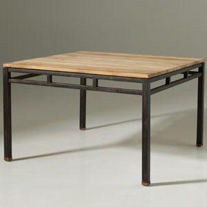 Table A Manger Carree En Teck Et Metal Luna 椅子