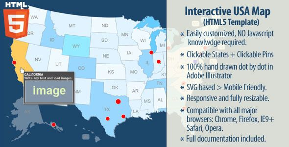 Interactive USA Map v2.0.2 HTML5 | Map, Free graphics, Map ...