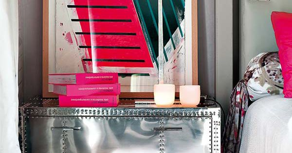 shiny metallic dresser - love the white silver and hot pink