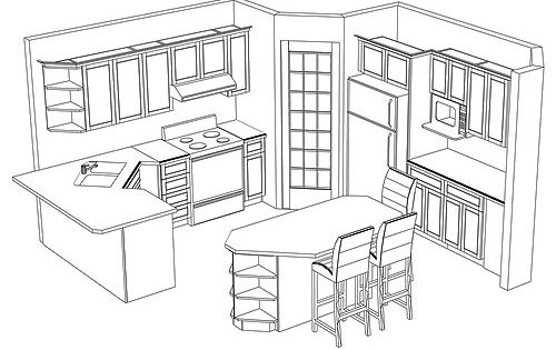 Potential kitchen layout with a corner pantry.  Mediidas planos  Pinterest  부엌 ...