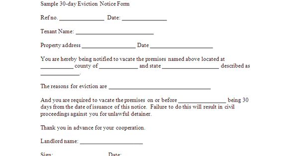 Free Downloadable Eviction Forms | Sample 30-day Eviction Notice ...