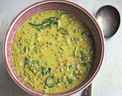 The Travelers Lunchbox - Green Lentil Soup with Coconut Milk and Warm