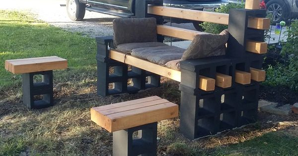 Cinder Block Bench And Tables I Built The Bench Using 12
