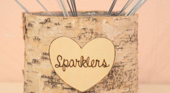 Wedding Sparklers Birch Basket- wedding decoration on Etsy, $25.50