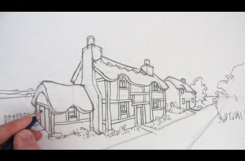 how to draw a house in 1 point perspective