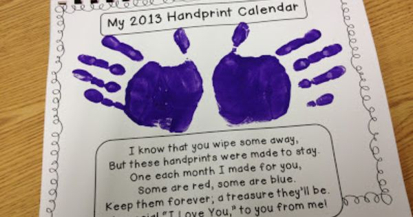 Homemade Calendar Cover : Handprint calendar tips monthly poems and cover