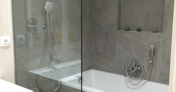 Ba o con ba era y ducha pavimento continuo sumidero - Banera y ducha ...