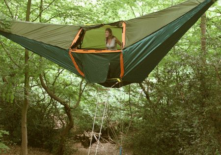 Hammock tent, hanging treehouse, tree tent.