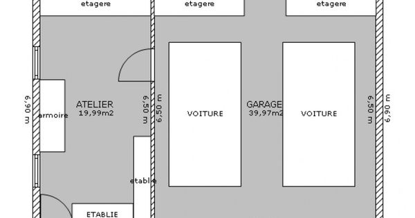 garage double atelier plan de 2 pi ces et 60 m2 garage pinterest garage double garage et. Black Bedroom Furniture Sets. Home Design Ideas