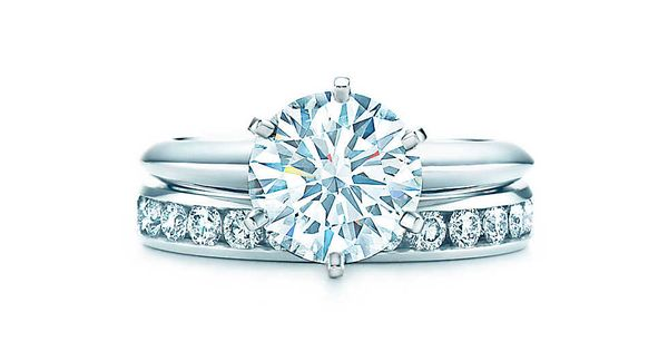 The Tiffany® Setting - 2.1 ct shown with Channel-set band ring (3mm)